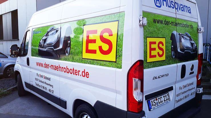 Fahrzeugbeschriftung für Husqvarna Automower Mähroboter Fa. Emil Schmid